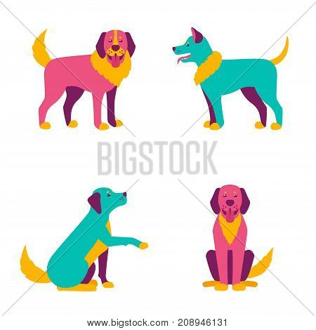 Cartoon dogs characters, different breads in abstract style. Blue, yellow and pink doggy or puppy. Cute funny animals, human friends. Vector illustration.