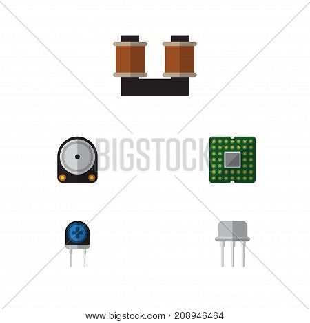 Flat Icon Device Set Of Unit, Coil Copper, Transducer And Other Vector Objects
