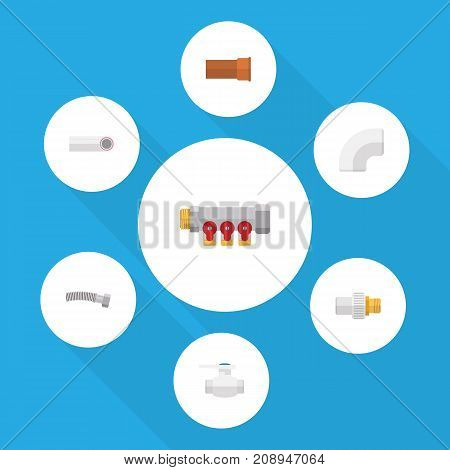 Flat Icon Industry Set Of Flange, Cast, Drain And Other Vector Objects
