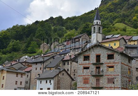 The hill village of Casso in Friuli Venezia Giulia north east Italy. With a population now of only 35 the village is famous locally for having being evacuated following the 1963 Vajont Dam disaster.