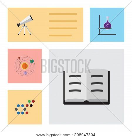 Flat Icon Study Set Of Molecule, Scope, Lecture And Other Vector Objects