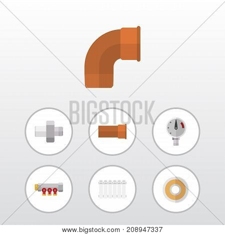 Flat Icon Plumbing Set Of Iron, Pipework, Radiator And Other Vector Objects