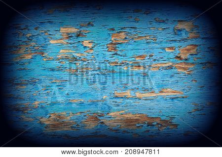 Blue background. Blue wood texture with vignetting