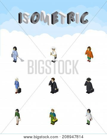 Isometric Person Set Of Seaman, Detective, Housemaid And Other Vector Objects