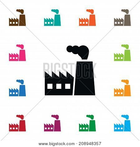 Industry Vector Element Can Be Used For Industry, Architecture, Factory Design Concept.  Isolated Architecture Icon.