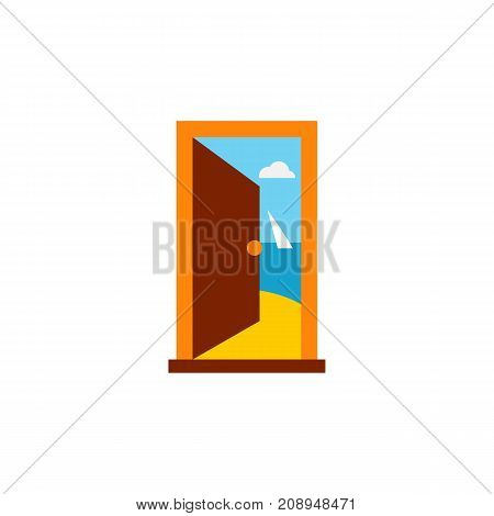 Vector icon of open door and sea. Summer resort, seaside, hotel. Tour planning concept. Can be used for topics like travel, tourism, vacation
