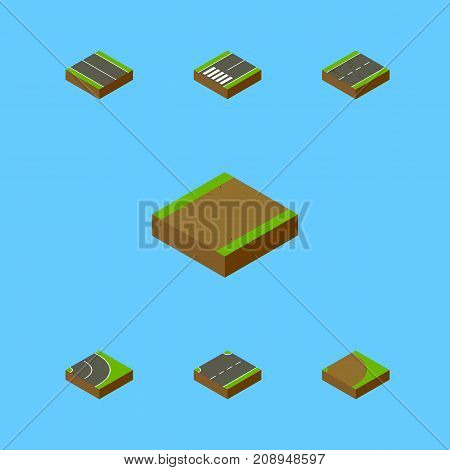 Isometric Way Set Of Footpath, Flat, Upwards And Other Vector Objects