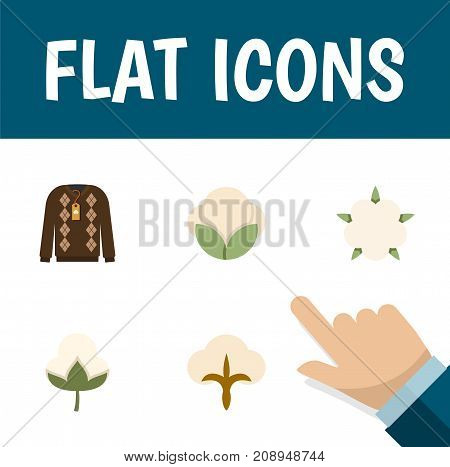 Flat Icon Fiber Set Of Fiber, Pullover, Fluffy And Other Vector Objects