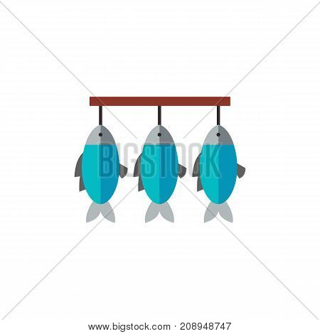 Vector icon of row of dried fish hanging on string. Stockfish, fish market, fishery. Seafood concept. Can be used for topics like food industry, gourmet, shopping