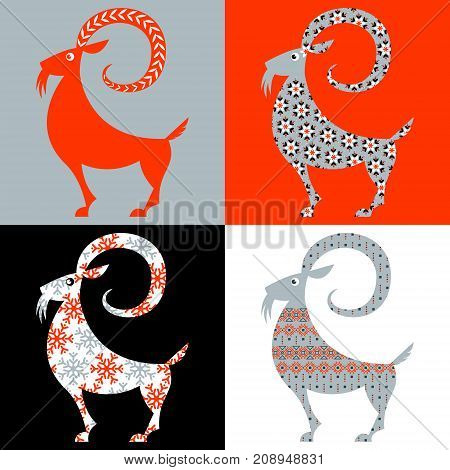 Scandinavian traditional Christmas decoration: Set of 4 Yule Goats with different patterns. Julbock. Vector illustration