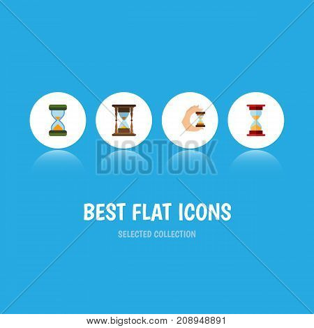 Flat Icon Hourglass Set Of Sandglass, Minute Measuring, Hourglass Vector Objects