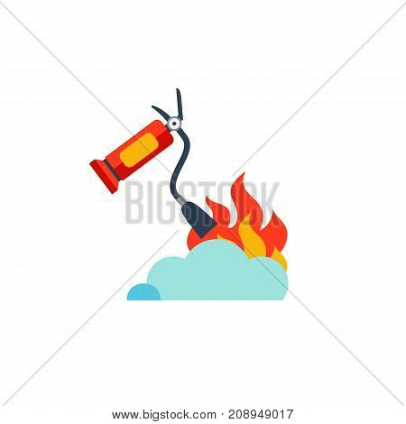Vector icon of fire extinguisher putting out flame. Conflagration, firefighting, fire safety. Protection concept. Can be used for topics like fire-extinguishing equipment, safety instructions, emergency