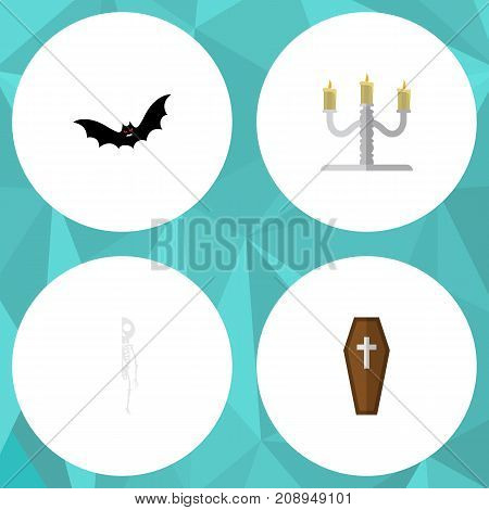 Flat Icon Festival Set Of Candlestick, Superstition, Skeleton Vector Objects