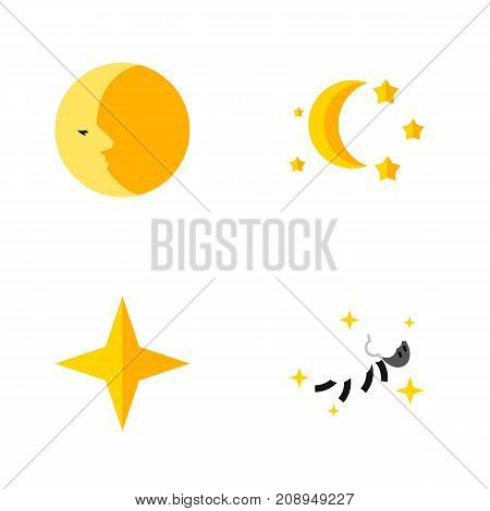 Flat Icon Bedtime Set Of Lunar, Bedtime, Star And Other Vector Objects