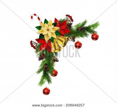 Christmas corner decoration with evergreen treess golden swirls and poinsettia with two golden bells isolated vector