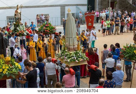 ABADIA, AMARES, PORTUGAL - August 15, 2017: Traditional religious procession of Senhora da Abadia in Amares, Portugal