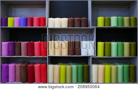 Assortment of candles in shop