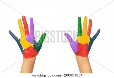 Painted hands on white background