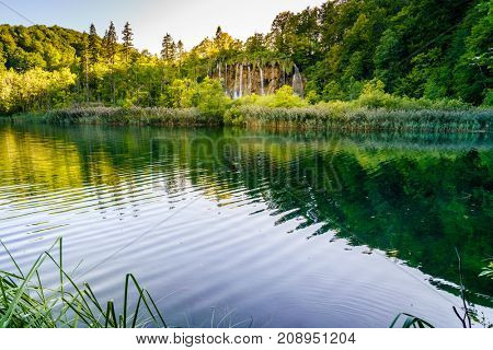 View of Galovac Waterfall in Plitvice Lakes National Park, Croatia