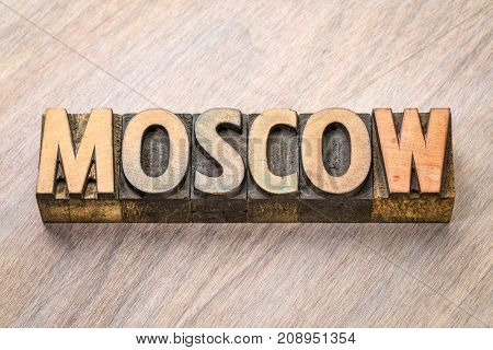 Moscow word abstract in vintage letterpress wood type