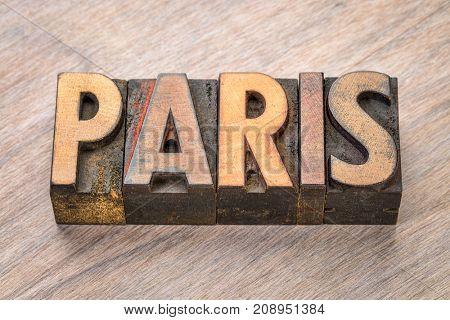 Paris word abstract in vintage letterpress wood type
