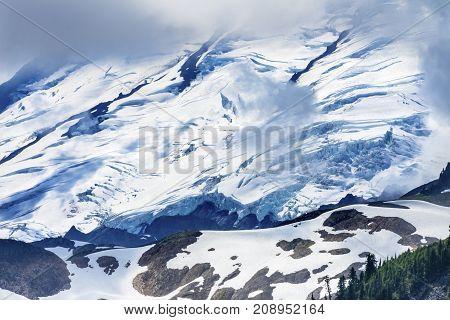 Mount Baker Snow Mountain Glaciers Through Clouds Artist Point Mount Baker Washington Pacific Northwest poster