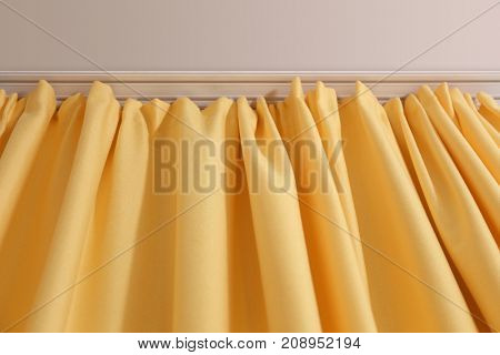 Beautiful yellow curtains indoors, closeup