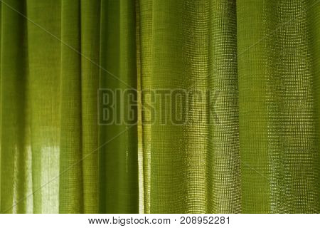 Beautiful color curtains indoors, closeup