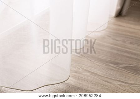 Beautiful white curtains indoors, closeup