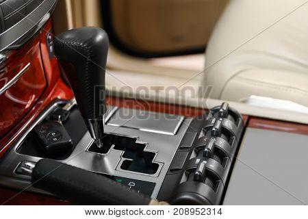 Gear shift knob in modern car