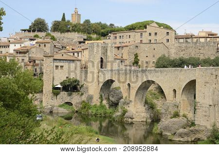 BESALU, SPAIN - JULY 26, 2017: Besalu a medieval town of Girona Catalonia Spain.