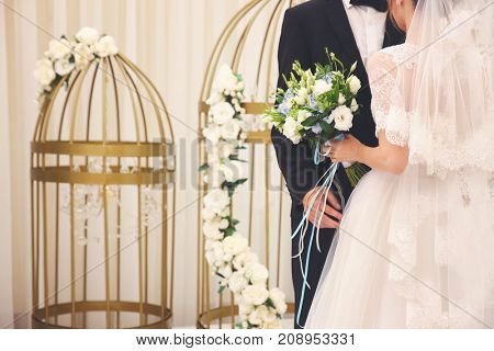 Bride and groom in wedding hall