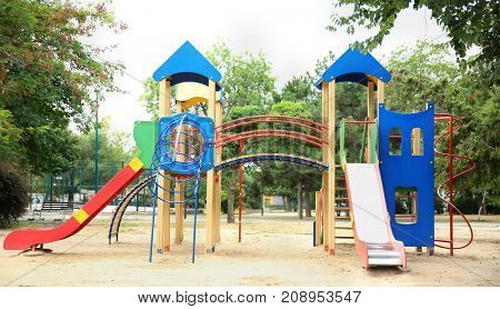 Empty playground for kids, outdoors