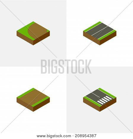 Isometric Road Set Of Pedestrian, Footpath, Turning And Other Vector Objects