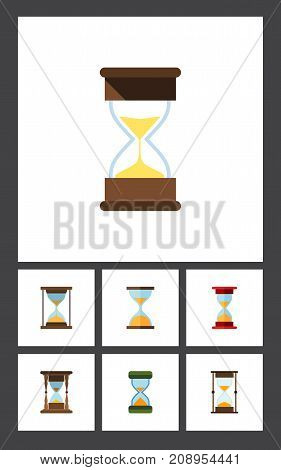Flat Icon Hourglass Set Of Measurement, Loading, Clock And Other Vector Objects