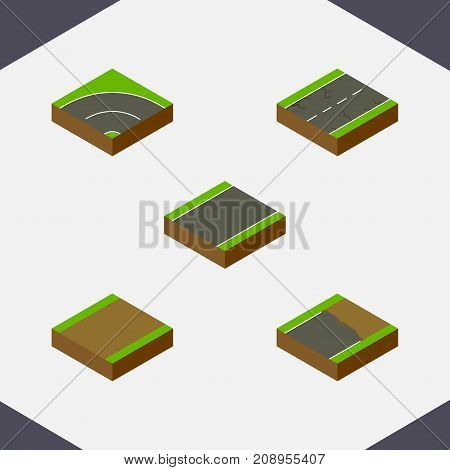 Isometric Way Set Of Footpath, Unfinished, Bitumen And Other Vector Objects