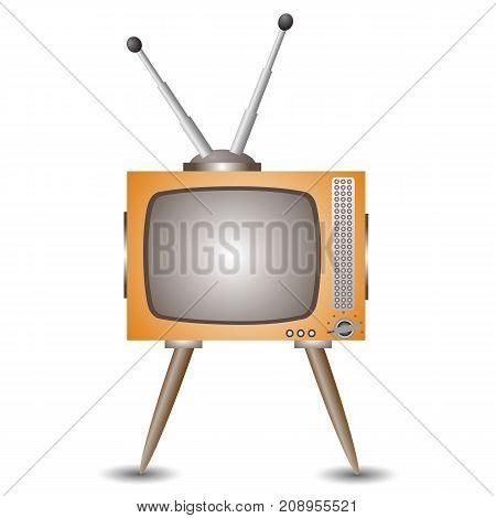 Retro old tv icon isolated on white background
