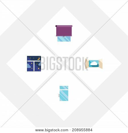 Flat Icon Glass Set Of Clean, Frame, Glazing And Other Vector Objects