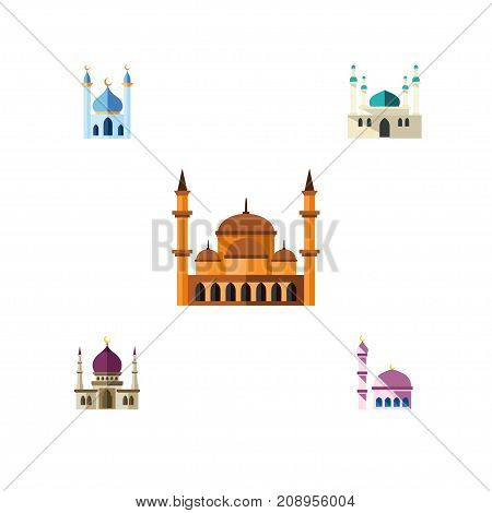 Flat Icon Building Set Of Architecture, Structure, Traditional And Other Vector Objects