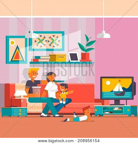 Vector illustration of happy family father, mother with two sons watching tv. Living room interior. Flat style design.