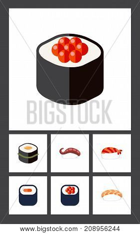 Flat Icon Sushi Set Of Sashimi, Seafood, Eating And Other Vector Objects