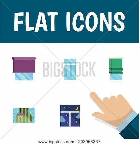 Flat Icon Glass Set Of Frame, Curtain, Balcony And Other Vector Objects