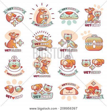 Veterinary pets clinic logo animal badges logotypes with dogs and cats vet clinic veterinarian shop vector illustration. Hospital service emblem.