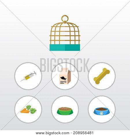 Flat Icon Animal Set Of Cat  Eating, Bird Prison, Rabbit Meal And Other Vector Objects