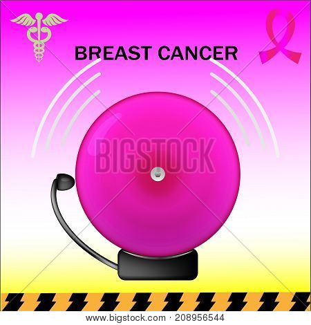 Vector pink ringing alarm bell. October is breast cancer awareness month.