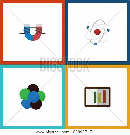 Flat Icon Knowledge Set Of Attractive Force, Diagram, Proton And Other Vector Objects