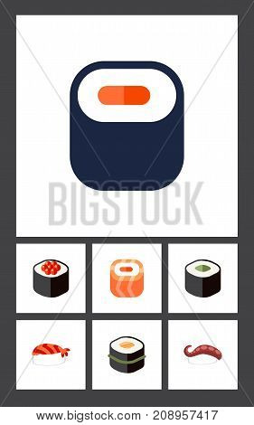 Flat Icon Salmon Set Of Japanese Food, Sashimi, Salmon Rolls And Other Vector Objects