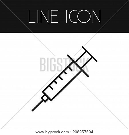 Syringe Vector Element Can Be Used For Syringe, Vaccine, Injection Design Concept.  Isolated Vaccine Outline.