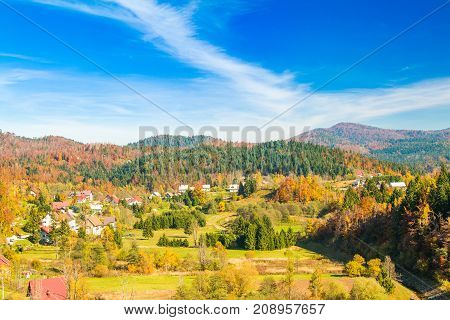 Beautiful town of Lokve in Gorski kotar, Croatia, in autumn, panoramic view