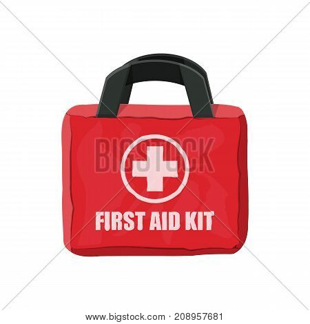 First aid kit. Cloth bag for medicine. Healthcare, hospital and medical diagnostics. Urgency and emergency services. Vector illustration in flat style